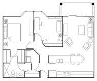 Grundriss-Wohnung Lizenzfreies Stockfoto