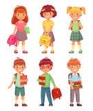 Grundskola för barn mellan 5 och 11 årungar Tecknad filmbarnelever med ryggsäcken och böcker Lycklig pojke- och flickaelev i vekt royaltyfri illustrationer
