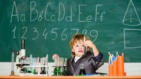 Grundskola f?r barn mellan 5 och 11 ?rutbildning f?r grundl?ggande kunskap Kemi f?r ungestudiebiologi Bildande experiment lycklig arkivfoto