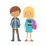 Grundskolaelever pojke och flicka royaltyfri illustrationer