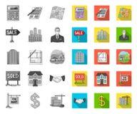 Grundstücksmakler, Agentur mono, flache Ikonen in gesetzter Sammlung für Entwurf Immobilien kaufend und verkaufend, vector Symbol vektor abbildung