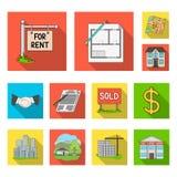 Grundstücksmakler, flache Ikonen der Agentur in der Satzsammlung für Design Immobilien kaufend und verkaufend, vector Symbol Netz stock abbildung