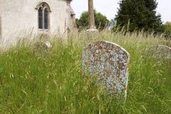 Grundstein in überwuchertem Friedhof lizenzfreies stockfoto