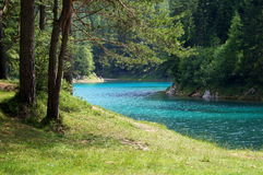 Gruner see near the town Tragoess, Austria. Grüner See (Green Lake) is a lake in Styria, Austria near the town of Tragöß. The lake is surrounded by the Royalty Free Stock Photo
