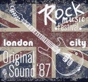 Σχέδιο εκτύπωσης μπλουζών, γραφική παράσταση τυπογραφίας, διανυσματική απεικόνιση φεστιβάλ βράχου του Λονδίνου με τη σημαία grung Στοκ Εικόνες