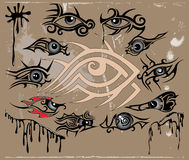 Grung eyes collection. There are tattoo eyes with pattern Stock Images