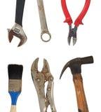 Grunge坏的老家用工具加工锤子,画笔,夹子 图库摄影