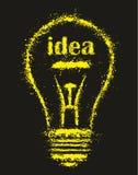 Grunge明亮的想法电灯泡-例证 免版税库存照片