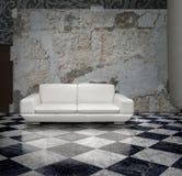 grunge沙发墙壁白色 库存图片