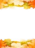 Grunge秋叶框架 免版税库存图片