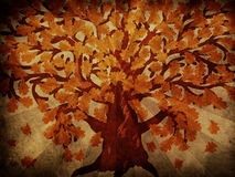 Grunge秋天橡树 免版税库存图片
