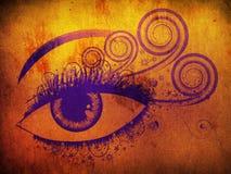 Grunge紫罗兰眼睛 向量例证