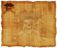 grunge羊皮纸海盗头骨 免版税库存图片