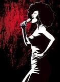 grunge背景的爵士乐歌唱家 免版税库存图片