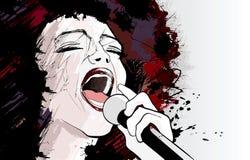grunge背景的爵士乐歌唱家 免版税库存照片