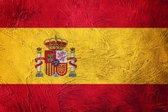 Grunge西班牙标志 与难看的东西纹理的西班牙旗子 免版税库存图片