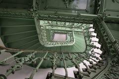Grunge,绿色楼梯 图库摄影