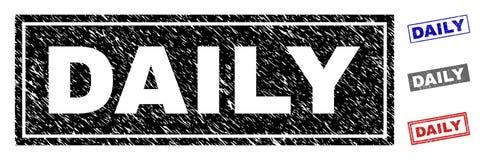Grunge ЕЖЕДНЕВНО текстурировал уплотнения печати прямоугольника иллюстрация штока