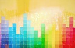Grunge ściana malująca w tęcza kolorach fotografia stock
