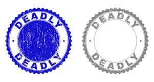 Grunge ŚMIERTELNY Drapający znaczki ilustracja wektor