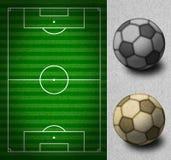 grunge śródpolne futbolowe linie papierowa piłka nożna Obraz Royalty Free
