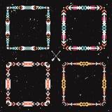 Grunge вектора установил с абстрактными геометрическими этническими рамками Стоковое Изображение RF