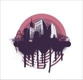 grunge города круга иллюстрация вектора