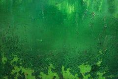 grunge, год сбора винограда Крупный план старого зеленого цвета покрасил встреченный утюг листа, Стоковое Изображение