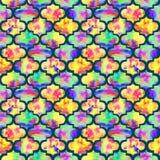 Grunge конспекта формы ярких плиток курчавый восточный геометрический красочный брызгает текстуру, картину акварели безшовную в ж Стоковая Фотография