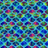 Grunge конспекта формы ярких плиток курчавый восточный геометрический красочный брызгает текстуру, дизайн картины акварели безшов Стоковые Фотографии RF