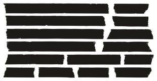 Grunge ленты для маскировки черный установил 01 Стоковая Фотография