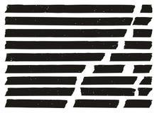 Grunge ленты для маскировки черный установил 02 Стоковые Фотографии RF