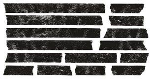 Grunge ленты для маскировки черный установил 01 Стоковые Изображения