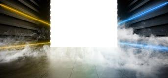 Grunge металла коридора тоннеля выставочного зала гаража лазера дыма космос неонового дневного голубого желтого футуристического  иллюстрация штока
