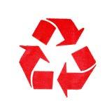 Grunge рециркулирует символ на белой предпосылке Стоковое фото RF