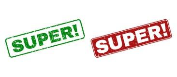 Grunge СУПЕР! Избитые фразы с округленными рамками прямоугольника иллюстрация штока