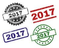 Grunge текстурировал 2017 уплотнений штемпеля иллюстрация вектора