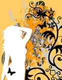 grunge цветка бабочки женское иллюстрация вектора