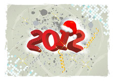 Grunge 2012 year. With Santa cap background Royalty Free Stock Images