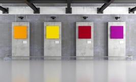 Γκαλερί τέχνης Grunge με το ζωηρόχρωμο καμβά Στοκ Εικόνες