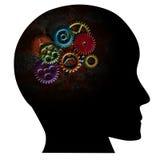 Ржавые шестерни на текстуре Grunge человеческой головы Стоковое Изображение RF