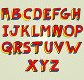 Grunge 3D Alphabet. Grungy colourful, hand drawn alphabet / font / letters Royalty Free Stock Photos