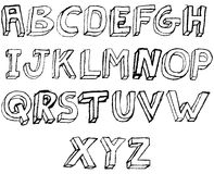 Grunge 3D Alphabet in black and white. Grungy hand drawn alphabet / font / letters Royalty Free Stock Photography