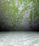 grunge 3d Innenraum, grüne rostige Wand Lizenzfreies Stockfoto