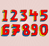 Grunge 3D Numbers. Grungy colourful, hand drawn alphabet / font / letters Royalty Free Stock Image