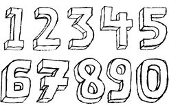 Grunge 3D Numbers in black and white. Grungy hand drawn alphabet / font / letters Stock Photo