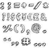 Grunge 3D Symbols in black and white. Hand-drawn, grungy font character symbol set Royalty Free Stock Photos