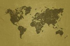 Карта мира на пустой текстуре бумаги grunge Стоковые Фотографии RF