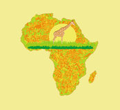 Предпосылка Grunge с африканской фауной и флорой Стоковые Изображения RF