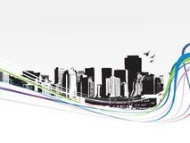 背景大城市grunge称呼了都市向量 免版税库存照片